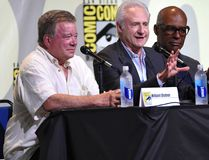 """William Shatner, from left, Brent Spiner, Michael Dorn, and Jeri Ryan attend the """"Star Trek"""" panel on day 3 of Comic-Con International on Saturday, July 23, 2016, in San Diego. (Photo by Chris Pizzello/Invision/AP)"""