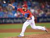 Toronto Blue Jays pitcher Drew Storen pitches against the Cleveland Indians during fifteenth inning MLB baseball action, in Toronto on Friday, July 1, 2016. THE CANADIAN PRESS/Frank Gunn
