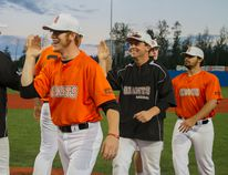 Members of the Fort McMurray Giants celebrate a four-game sweep of the Brooks Bombers to conclude home play at Shell Place Saturday night. The Giants played in Edmonton Sunday afternoon followed by three games in Okotoks to conclude the season. Robert Murray/Fort McMurray Today/Postmedia Network
