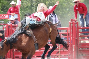 Reigning world bareback riding champion Phil Harvey takes a ride on Sunday afternoon at the County Championship Rodeo in Picton.