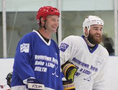 "Stanley Cup champion Boyd Devereaux and Buffalo Sabre Ryan O'Reilly were in Goderich for the third annual Hometown Heroes ""Raise A Little Health"" charity hockey game on July 21 at the Maitland Recreation Centre. (Laura Broadley/Goderich Signal Star)"