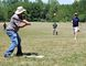Paul Johnson of Harley swings the bat during a tryout in Port Rowan Saturday for an old-fashioned baseball team – one that plays according to 19th-century rules. The tryout took place in an open field at the Backus Heritage Conservation Area. (MONTE SONNENBERG Simcoe Reformer)