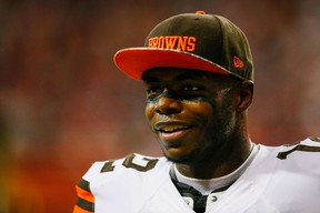 Josh Gordon of the Cleveland Browns stands on the sidelines during the first half against the Atlanta Falcons at Georgia Dome in Atlanta on Nov. 23, 2014. (Kevin C. Cox/Getty Images/AFP)