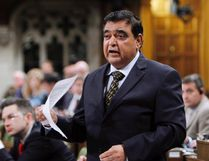 Conservative MP and Parliamentary Secretary to the Minister of Foreign Affairs and for International Human Rights Deepak Obhrai stands in the House of Commons during question period in Ottawa on May 30, 2014. As candidates from Ontario and Quebec have lined up to run for leadership of the federal Conservatives, many have wondered whether anyone from the party's Western heartland was going to join them. Well, now one is planning to -- longtime Calgary MP Deepak Obhrai. THE CANADIAN PRESS/Fred Chartrand