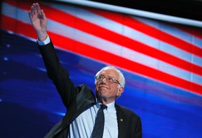 Former Democratic Presidential candidate, Sen. Bernie Sanders, I-Vt., takes the stage during the first day of the Democratic National Convention in Philadelphia , Monday, July 25, 2016. (AP Photo/Carolyn Kaster)