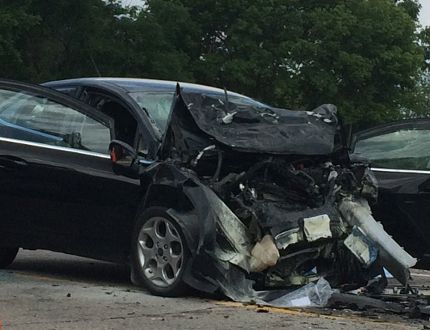 OPP are investigating a head-on collision on Glendon Drive that left one dead and two with serious injuries Monday. (HALA GHONAIM, The London Free Press)
