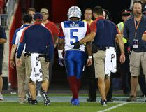 Alouettes quarterback Kevin Glenn is helped off the field against the Argonauts during CFL action at BMO Field in Toronto on Monday, July 25, 2016. (Dave Abel/Toronto Sun)