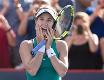 Canada's Eugenie Bouchard reacts after beating Lucie Safarova of the Czech Republic during the Rogers Cup Tuesday July 26, 2016 in Montreal. (THE CANADIAN PRESS/Paul Chiasson)