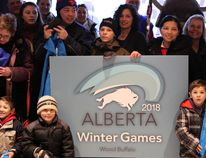 Children hold up a sign welcoming the 2018 Alberta Winter Games to Wood Buffalo Thursday at McMurray Experience in Fort McMurray Alta. on Thursday January 14, 2016. Members of the Alberta Sport Connection were on hand to make the announcement Thursday, giving Fort McMurray the provincial games for the first time since 1992. Robert Murray/Fort McMurray Today/Postmedia Network