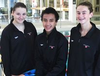 Madison Broad, left, David Tran and Genevieve Sasseville are Chatham Y Pool Sharks teammates. Broad and Sasseville have been named to Team Ontario for a trip to Florida and Indiana. (Contributed Photo)