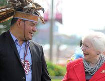 Ontario Regional Chief Isadore Day speaks with Lt.-Gov. Elizabeth Dowdeswell at Parks Canada National Historic Canal on Wednesday.