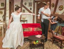 Cydney Penner, Adrian Shepherd, Mairi Babb in a scene from Perfect Wedding, currently on stage at Lighthouse Festival Theatre in Port Dover. Perfect Wedding runs until August 6. (Contributed Photo)