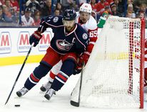 Columbus Blue Jackets' Nick Foligno (71) plays against the Dterroit Red Wings last season. Foligno and other local pros will take on a team of doctors to support the NEO Kids Foundation next Wednesday. Jay LaPrete/Associated Press