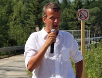 Riversedge Development CEO Justus Veldman is seen here speaking at the re-opening of the trestle bridge in Iroquois Falls Wednesday afternoon. The bridge is just one of the initiatives of his subsidiary company, Abitibi Commons.