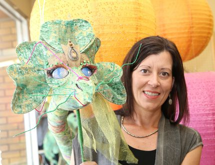 <p>Trisha Mazzuca displays a dragon puppet that will be on display during Capreol Days this weekend in Capreol, Ont. John Lappa/Sudbury Star/Postmedia Network