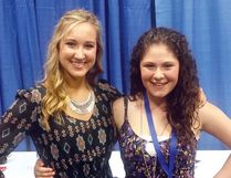 Kaleigh Jo Kirk, left, and Sydney Mae at last year's ATB Homegorwn Stage of Big Valley Jamboree. The emerging Cochrane talents have both won the Homegrown Stage competition, Sydney in 2014 and Kaleigh in 2015.