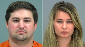 """Two undated booking photos provided by the Pima County Sheriff show Brent Daley, left, and Brianna Daley. The two are accused of leaving their 2-year-old son alone for up to 90 minutes to go play the """"Pokemon Go"""" smartphone game. The Pinal County Sheriff's Office say the two were arrested after a neighbour found the boy barefoot and crying outside the couple's home in a southeastern Phoenix suburb Thursday night. (Pima County Sheriff via AP)"""