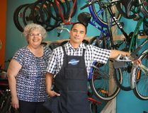 Tyla Vrantsidis and Dave Vinluan are helping equip kids in the Napanee community with bicycles — for free. (Meghan Balogh/Postmedia Network)