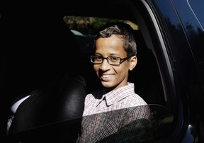 In this Sept. 17, 2015 file photo, Ahmed Mohamed sits in a vehicle before leaving his family's home in Irving, Texas. The family of Ahmed Mohamed, who was arrested after a homemade clock he brought to school was mistaken for a bomb, filed a lawsuit Monday, Aug. 8, 2016, against Texas school officials saying they violated the boy's civil rights. (AP Photo/LM Otero, File)