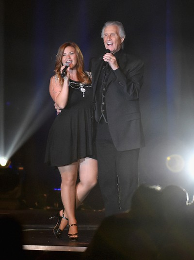 McKenna Medley (L) and singer Bill Medley of The Righteous Brothers  perform during the 50th anniversary gala at Caesars Palace on August 6, 2016 in Las Vegas, Nevada. Caesars Palace first opened its doors on the Las Vegas Strip on Aug. 5, 1966 and a weekend to celebrate the 50th anniversary of this famed casino resort began a half-century later on Friday, Aug. 5 with an evening pool party for hotel guests at the picturesque Garden of The Gods Pool Oasis. Host Gordon Ramsay led the birthday champagne toast and cake cutting with nearly 3,000 guests. Other celebrity guests during the weekend festivities included Tony Bennett, Howie Mandel, Wayne Newton, Donny & Marie Osmond, and The Righteous Brothers. (Photo by Ethan Miller/Getty Images for Caesars Palace )