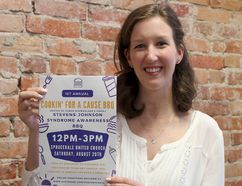 Sarah MacFarlane is organizing a barbecue on Saturday, August 20, 2016 at Sprucedale United Church in Chatham, Ont., to help raise awareness for the rare condition Stevens-Johnson Syndrome, which she experienced earlier this year. The condition is caused by an adverse reaction to other medications. Photo in Chatham, Ont. on Monday August 8, 2016. (Ellwood Shreve/Chatham Daily News/Postmedia Network)