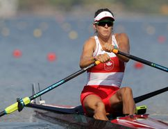 Canada's Carling Zeeman competes in the women's rowing single sculls quarterfinal heats during the 2016 Summer Olympics in Rio de Janeiro, Brazil, on Tuesday. The former Laurentian University rower and Cambridge, Ont., native is through to the semifinals in the women's Olympic single sculls rowing competition. The 25-year-old finished third in her quarter-final Tuesday with a time of seven minutes 34.52 seconds that put her in 10th place overall. Zeeman races the semifinals Wednesday at 10:30 a.m. (AP Photo/Luca Bruno)
