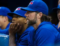 Toronto Blue Jays R.A. Dickey and Marcus Stroman look on during Tuesday's game against the Tampa Bay Rays at the Rogers Centre in Toronto. (Ernest Doroszuk/Toronto Sun/Postmedia Network)