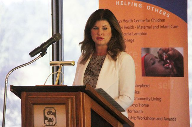 Rona Ambrose visited Sarnia Wednesday, saying it's important for Canada to aggressively champion free trade. The interim leader of the Conservative Party of Canada spoke at the Sarnia Golf and Curling Club. (Tyler Kula/Sarnia Observer/Postmedia Network)