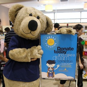 The Sunshine Bear (pictured here) will be doing in-store appearance at WINNERS and HomeSense stores across Canada during the Spread a Little Sunshine campaign, which takes place across the month of August to support the Sunshine Foundation of Canada.