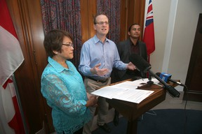 From the left; Interim Leader of the Opposition. Flor Marcelino, Rob Altemeyer, Environment and Green Jobs critic, and Wab Kinew, Educaton Critic.  The opposition criticized the Manitoba Government today.   Wednesday, August 10, 2016.   Sun/Postmedia Network