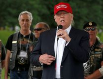 Republican U.S. presidential candidate Donald Trump addresses the Rolling Thunder motorcycle rally to highlight POW-MIA issues on Memorial Day weekend in Washington, U.S. May 29, 2016. (REUTERS/Jonathan Ernst)