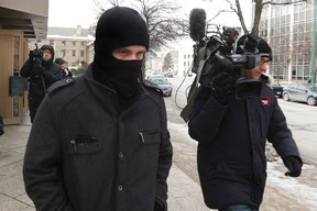 Aaron Driver leaves the Law Courts in Winnipeg, Tuesday, February 2, 2016. THE CANADIAN PRESS/John Woods