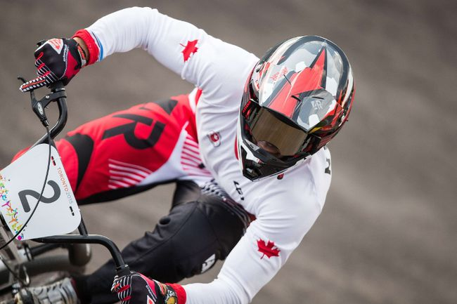 Canada's Tory Nyhaug rides in the BMX semifinal at the 2015 Pan American Games in Toronto last summer. Nyhaug is the lone Canadian competing at the Rio Olympics.