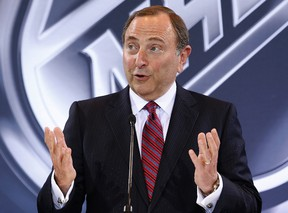 In this June 22, 2016, file photo, NHL Commissioner Gary Bettman speaks during a news conference in Las Vegas. (AP Photo/John Locher, File)