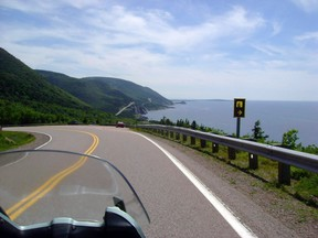 This July 13, 2010 photo shows the road along the Cabot Trail in Cape Breton, Nova Scotia. (THE CANADIAN PRESS/AP-Glenn Adams)