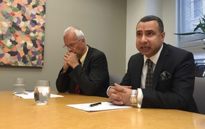 Dr. Martin Mark, director Office of Refugees at the Archdiocese of Toronto, and Rev. Majed El Shafie, founder of One Free World International, urge the federal government to act fast in resettling hundreds of Yazidi girls and women who escaped sex slavery in northern Iraq, Aug. 17, 2016 in Toronto. (Maryam Shah/Toronto Sun)