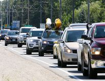 Long weekend bumper to bumper traffic for as far as the eye can see heads north up Highway 6 from Springmount towards the Bruce Peninsula in this Sun Times file photo from last summer.