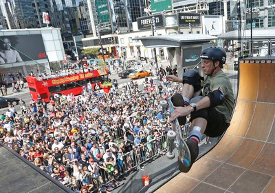 Grabbing some air, Tony Hawk was joined by  skateboarding friends at Yonge Dundas Square in the halfpipe in Toronto on Thursday August 18, 2016. Michael Peake/Toronto Sun/Postmedia Network