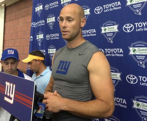 New York Giants kicker Josh Brown speaks with reporters at NFL football training camp, Thursday, Aug. 18, 2016, in East Rutherford, N.J. (AP Photo/Tom Canavan)