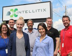 The team at Intellitix in Chatham, Ont. are looking forward to welcoming some new hires to help the company grow. Local employees include, from front left, Kirstin Van Kesteren, MacKenzie Young, Kelsey Udavari and Mark Bunning. Pictured back left is: Peter Fantuz, Gary White, Max Fantuz and Erick Janssen. Photo taken on Wednesday August 17, 2016. (Ellwood Shreve/Chatham Daily News/Postmedia Network)