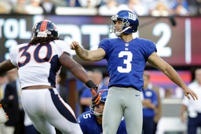 In this Sept. 15, 2013, file photo, New York Giants kicker Josh Brown (3) reacts after kicking a field goal against the Denver Broncos in East Rutherford, N.J. (AP Photo/Kathy Willens, File)