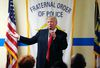 Republican presidential candidate Donald Trump speaks to retired and active law enforcement personnel at a Fraternal Order of Police lodge during a campaign stop in Statesville, N.C., Thursday, Aug. 18, 2016. (AP Photo/Gerald Herbert)