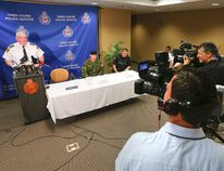Owen Sound Police Chief Bill Sornberger addresses the media at a news conference on Friday morning at the Owen Sound police station. (James Masters The Sun Times)