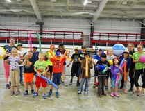Participants of Morden's second RBC Sports Camp pose with some of the equipment used in activities and games over the week. (Alexis Stockford/The Morden Times)