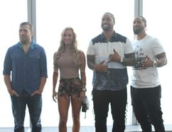 WWE stars Daniel Bryan, Carmella and Jey, left, and Jimmy Uso inside the One World Observatory at the rebuilt One World Trade Center in New York City on Saturday. (George Tahinos/SLAM! Wrestling)