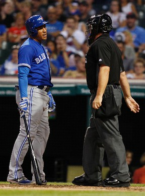 Ezequiel Carrera of the Toronto Blue Jays -- batting second in the revamped lineup -- exchanges words with plate umpire Greg Gibson after a called third strike in Toronto's game against the Cleveland Indians on Aug. 20, 2016 in Cleveland, Ohio. (DAVID MAXWELL/Getty Images)
