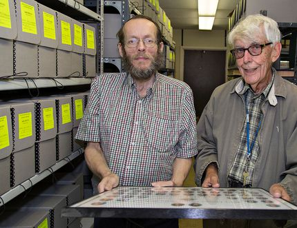 <p>Archivists Dan Walker (left) and Bob Stevenson have been busy organizing historic materials for the Grand Erie District School Board in Brantford, Ontario. Photographed on Wednesday August 17, 2016. Brian Thompson/Brantford Expositor/Postmedia Network
