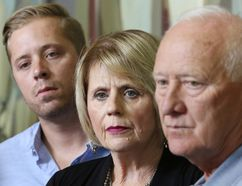 Family members of Anthony Heffernan speak to the media following an ASIRT announcement that there will be no charges in his death at the hands of police. From left; are brother Grant, mother Irene and dad Pat. Anthony was shot and killed by police in a northeast Calgary hotel room while he was a high drugs. Gavin Young/Postmedia