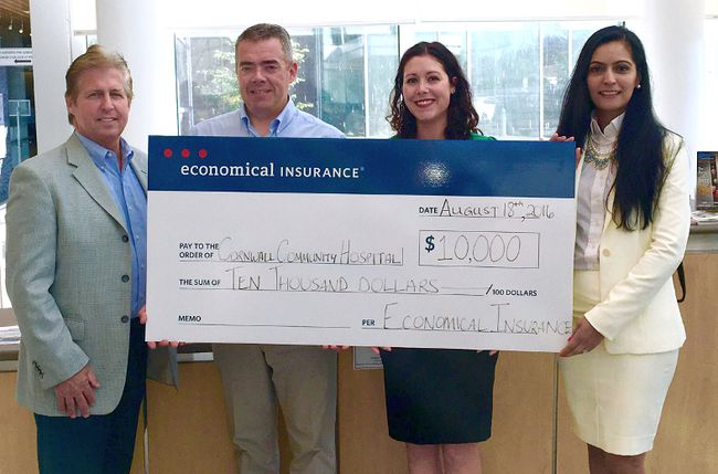 <p>Economical Insurance's John Poulin (left) presents a $10,000 donation towards the new Community Addiction and Mental Health Centre to Amy Gillespie (second from right) of the Cornwall Community Hospital Foundation. The donation is made in association with Todd Rozon (second from left) of Rozon Insurance Brokers Ltd.  Also representing Economical Insurance is Samantha Dhaliwal (right). Handout/Cornwall Standard-Freeholder/Postmedia Network