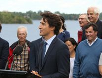 Prime Minister Justin Trudeau is flanked by cabinet colleagues at a media event on Monday at Lake Ramsey. The ministers bunked together in student dorms at Laurentian University during a two-day cabinet retreat.(Gino Donato/Sudbury Star)